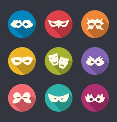 Set flat icons of carnival or theatre masks with vector