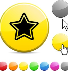 Star glossy button vector