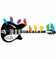 guitar birds background vector image