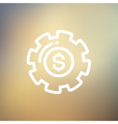 Money with gear thin line icon vector
