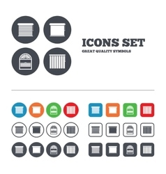 Louvers icons plisse vertical and rolls vector