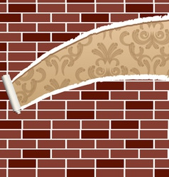 Ripped brick wall vector