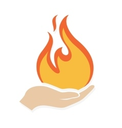 Fire in hand logo or icon vector