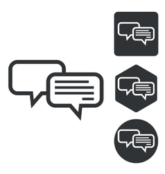 Chatting icon set monochrome vector