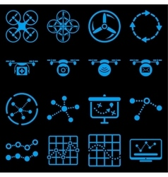 Quadcopter navigation icon set vector