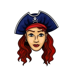 Cartoon pirate woman in hat with jolly roger vector