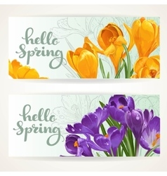 Two horizontal banners hello spring with yellow vector