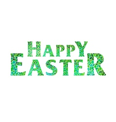 Happy easter lettering green vector