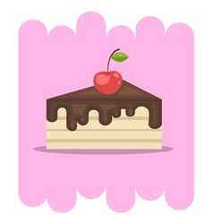 Chocolate cake icon with cherry vector