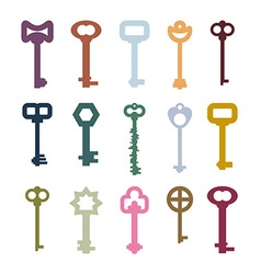 Old vintage keys set color clues from ancient vector
