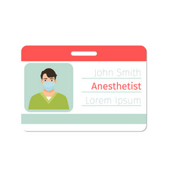 anesthetist medical specialist badge vector image vector image
