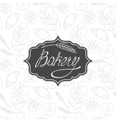 Bakery background and label with hand lettering vector