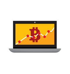 Bitcoin statistic chart laptop computer graphic vector