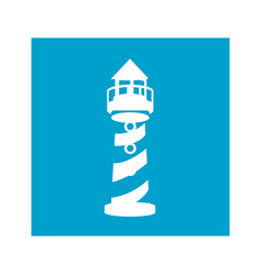 Blue square frame with tower of lighthouse vector