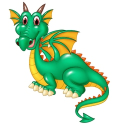 Cartoon happy green dragon isolated vector image vector image