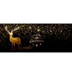 Christmas with Gold deer vector image vector image