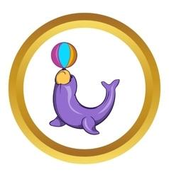 Circus seal with a ball icon cartoon style vector