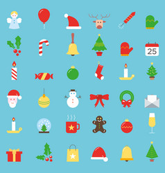 colorful christmas icons big collection vector image vector image