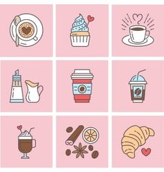 Cute line icons of coffee elements vector