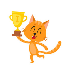 Cute little red cat character champion holding vector