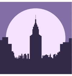 dark gloomy night city flat silhouette vector image