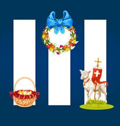 Easter spring holiday cartoon banner set vector