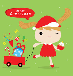 Girl love merry christmas cute cartoon vector