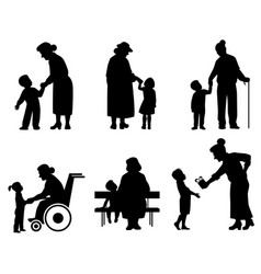 Grandmothers and grandson silhouettes vector