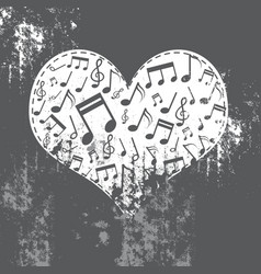 Heart grunge with music inside vector