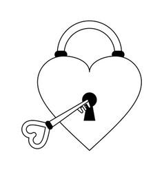 Heart padlock silhouette vector