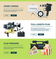 horizontal banners set with cinema compositions vector image