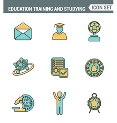 Icons line set premium quality of basic education vector