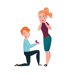 marriage proposal man kneeling cartoon scene vector image