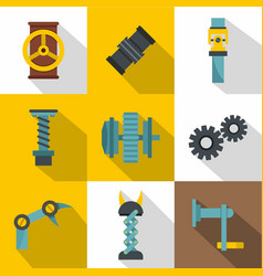 mechanism parts icon set flat style vector image vector image