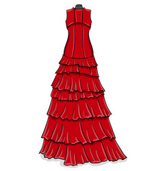 red long evening dress with frills on a white vector image vector image