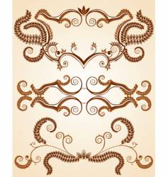 retro floral frame vector image vector image