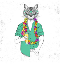Retro hipster animal cat with tropic cocktail vector