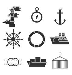 Sea port icons set vector