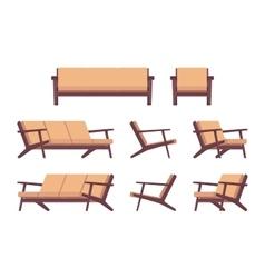 Set of retro cream sofa and armchair vector
