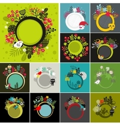 Set of round banners with floral background vector