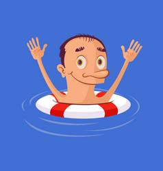 Sinking man in lifebuoy vector