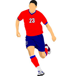 soccer player in red-blue uniforms colored for vector image
