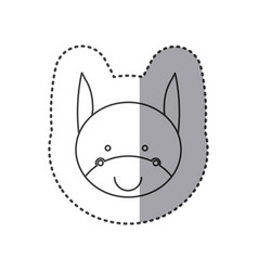 Sticker of grayscale contour with face of donkey vector