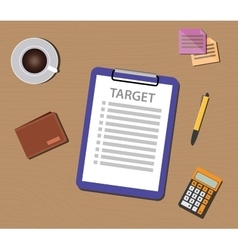 Target list with check and clipboard vector