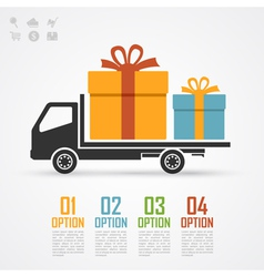 truck with gifts vector image vector image