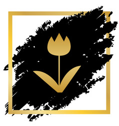 tulip sign golden icon at black spot vector image vector image