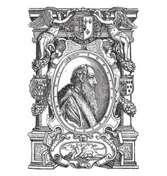 Venetian print is a drawing of an old mans side vector