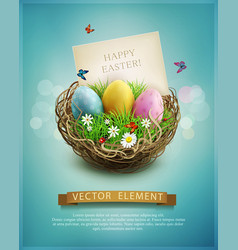 Vintage easter eggs in a wicker nest green grass vector