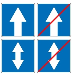 Ahead only one way traffic sign drive straight vector