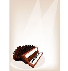 A retro accordion on brown stage background vector